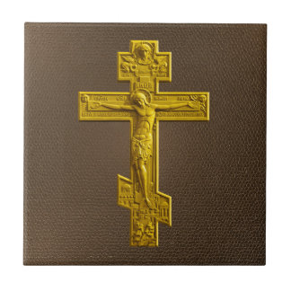 Golden Russian orthodox cross Tile