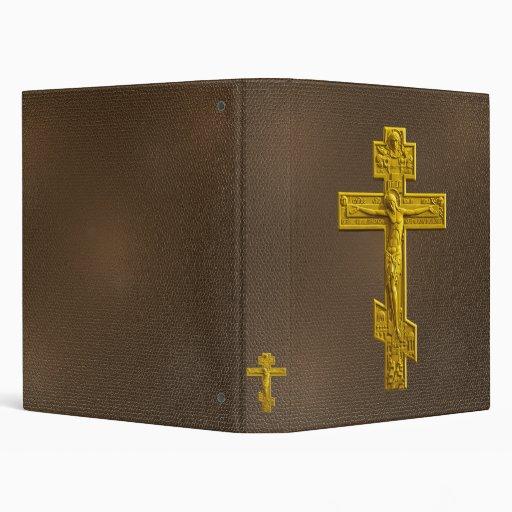Golden Russian orthodox cross Vinyl Binders