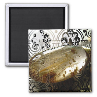 Golden Rutiles 2 Inch Square Magnet