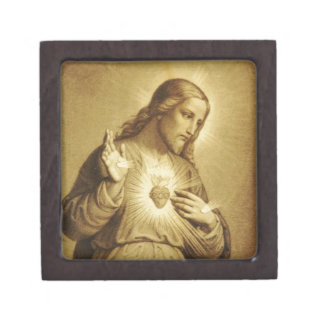 Golden Sacred Heart with Cross Jewelry Box