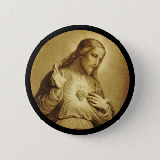 Golden Sacred Heart with Cross Pinback Button