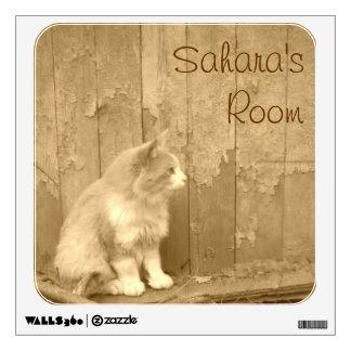 Golden Sahara Cat Wall Decal *personalize*