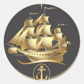 Golden-Sailboat.ai Classic Round Sticker