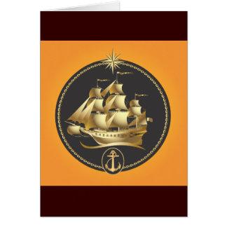 Golden-Sailboat.ai Greeting Card