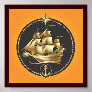 Golden-Sailboat.ai Posters
