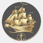 Golden-Sailboat.ai Pegatina Redonda