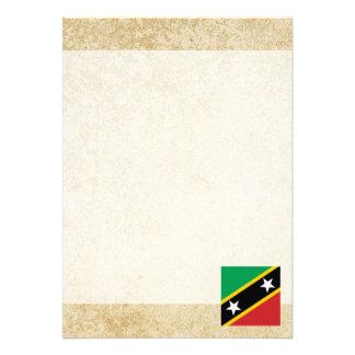 "Golden Saint Kitts and Nevis Flag 5"" X 7"" Invitation Card"