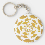Golden Salmon Circle Key Chain