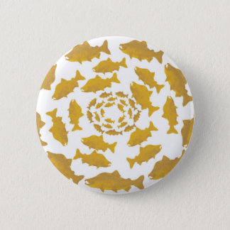 Golden Salmon Circle Pinback Button