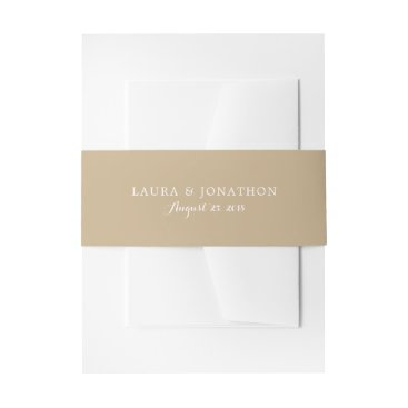 Beach Themed Golden Sand Color | Wedding Invitation Belly Band