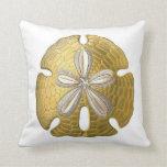 Golden Sand Dollar on White Throw Pillow. Pillow