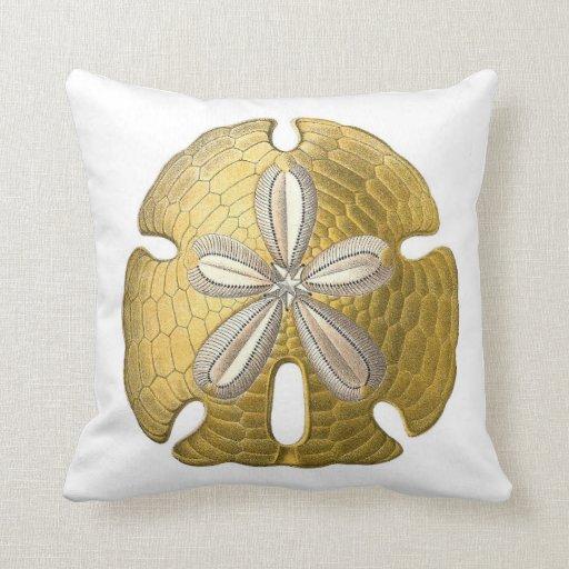 Throw Pillows Under 5 Dollars : Golden Sand Dollar on White Throw Pillow. Pillow Zazzle