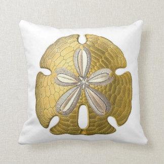 Golden Sand Dollar on White Throw Pillow. Throw Pillow