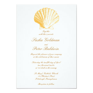 Golden Sand Sea Shells Wedding Invitation