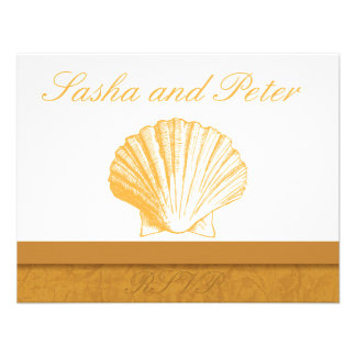 Golden Sand Shell Beach Wedding RSVP Cards Personalized Announcements