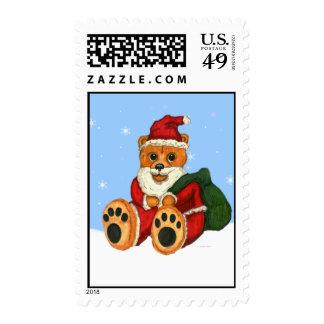 Golden Santa Bear Postage Stamps