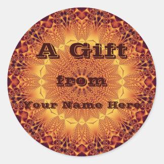 Golden Satin Gift  Sticker Round Sticker