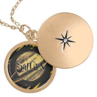 GOLDEN SATURN PLANET BLACK SPACE WORDS LOGO ICON G LOCKET NECKLACE