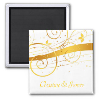Golden save the date magnet