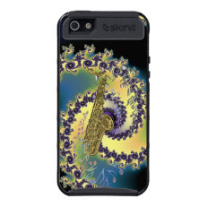 Golden Saxophone Swirling Rainbow Musical Notes Case For iPhone 5