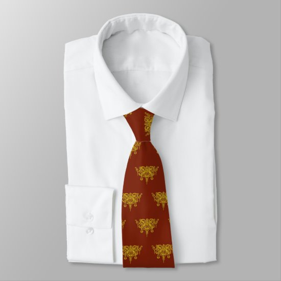 Golden scales and sword of justice on ruby red neck tie