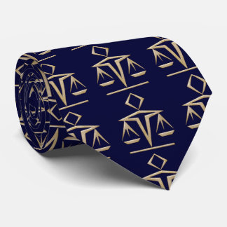 Golden Scales of Justice on Almost Navy Blue Neck Tie