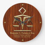 Golden Scales of Justice on Cherry (Personalized) Wallclock