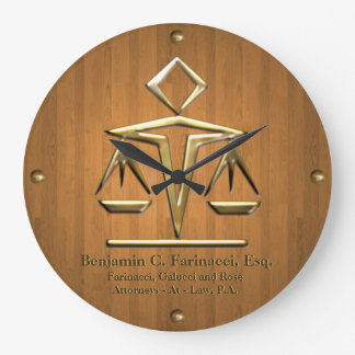 Golden Scales of Justice on Teak (Personalized) Clocks