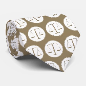 Golden Scales of Justice Pattern | Law Neck Tie