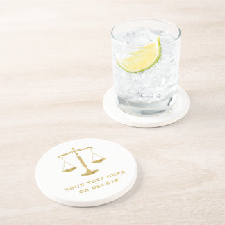 Golden Scales of Justice | Personalizable Drink Coaster