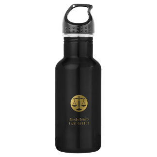 Golden Scales of Justice | Professional Lawyer Water Bottle