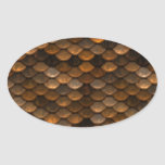 Golden Scales Oval Sticker