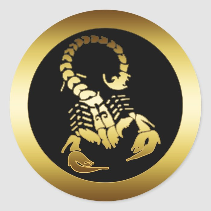 GOLDEN SCORPION CLASSIC ROUND STICKER