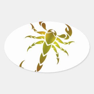 Golden Scorpion Oval Sticker
