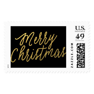 Golden Script Merry Christmas Postage Stamps
