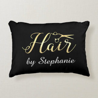 Golden Script Scissors Hairstylist Hair Salon Accent Pillow