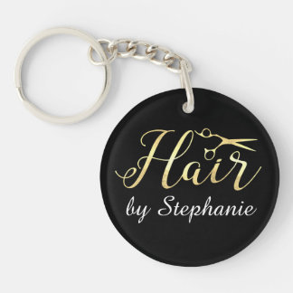 Golden Script Scissors Hairstylist Hair Salon Keychain