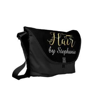 Golden Script Scissors Hairstylist Hair Salon Messenger Bag