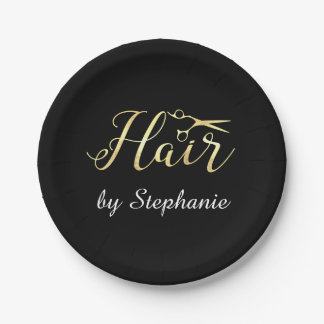 Golden Script Scissors Hairstylist Hair Salon Paper Plate
