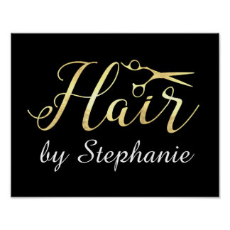 Golden Script Scissors Hairstylist Hair Salon Poster