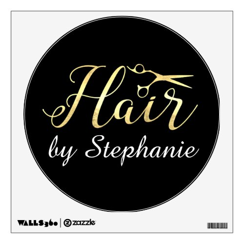 Golden Script Scissors Hairstylist Hair Salon Wall Decal