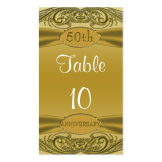 Golden Scrolls 50th Wedding Anniversary Business Card Templates