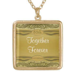 Golden Scrolls 50th Wedding Anniversary Gold Plated Necklace