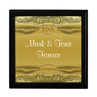 Golden Scrolls 50th Wedding Anniversary Keepsake Box
