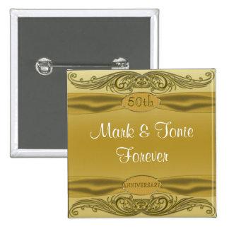 Golden Scrolls 50th Wedding Anniversary Pinback Button