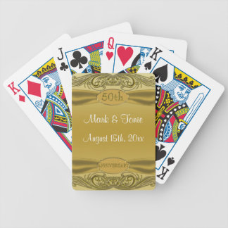 Golden Scrolls 50th Wedding Anniversary Bicycle Playing Cards