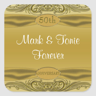 Golden Scrolls 50th Wedding Anniversary Sticker
