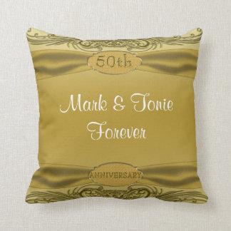Golden Scrolls 50th Wedding Anniversary Throw Pillow