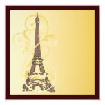 Golden Scrolls and Eiffel Tower 5.25x5.25 Square Paper Invitation Card
