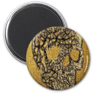 Golden Scull 2 Inch Round Magnet